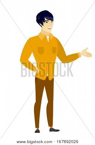 Businessman with arm out in a welcoming gesture. Full length of welcoming young asian businessman. Businessman doing a welcome gesture. Vector flat design illustration isolated on white background.