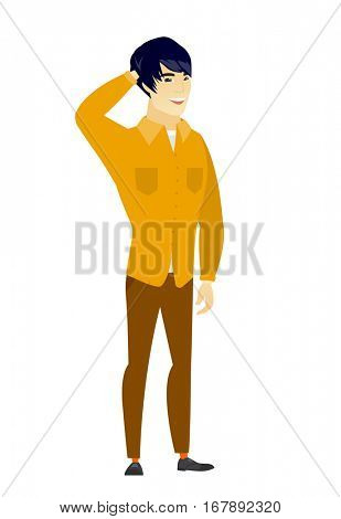 Young asian  businessman scratching his head. Full length of businessman touching his head. Happy businessman holding hand behind head. Vector flat design illustration isolated on white background.