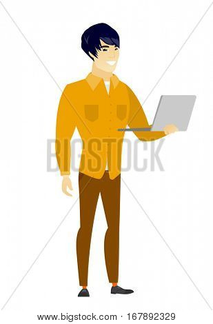 Asian  business man using laptop. Full length of young smiling business man working on a laptop. Cheerful business man holding laptop. Vector flat design illustration isolated on white background.