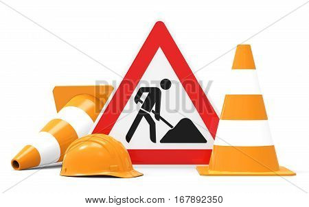Under construction road sign traffic cones and safety helmet isolated on white background 3D rendering