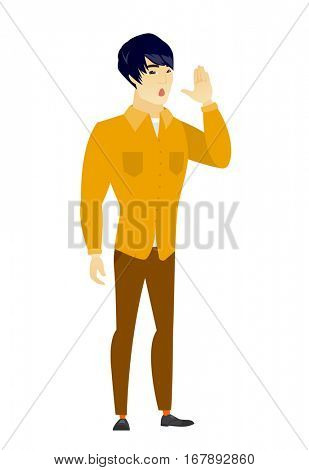 Asian  business man lost and calling for help. Full length of business man calling for help. Business man in trouble calling for help. Vector flat design illustration isolated on white background.