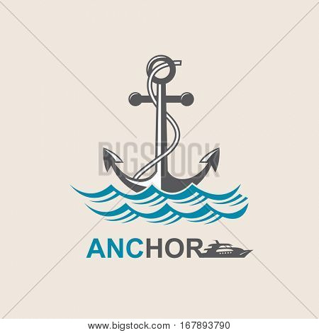 image of anchor symbol with sea waves. Vector illustration