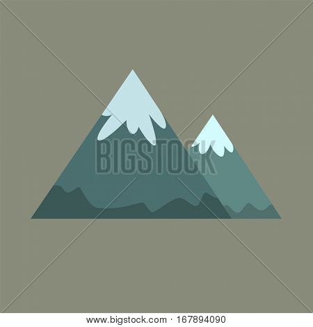 Two mountains in flat cartoon style for design