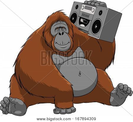 Vector illustration of funny orangutan enjoys listening to music, sitting with the recorder