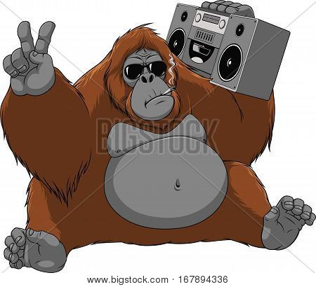 Vector illustration of funny orangutan enjoys listening to music, sitting with the recorder, smoking a cigarette