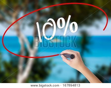 Woman Hand Writing 10%  With Black Marker On Visual Screen
