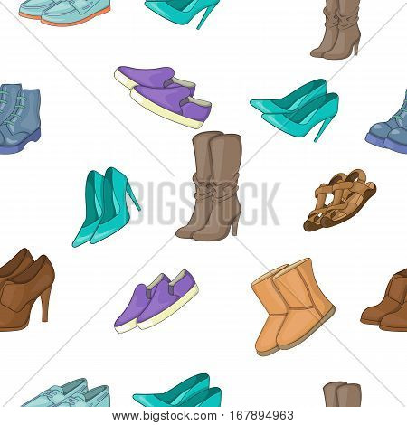 Shoes pattern. Cartoon illustration of shoes vector pattern for web