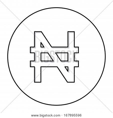 monochrome contour with currency symbol of nigerian naira in circle vector illustration