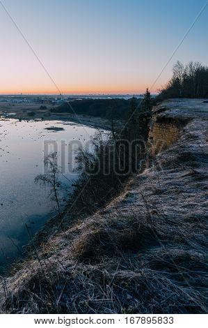 Precipice of Rannamoisa cliff by early morning Harjumaa Estonia