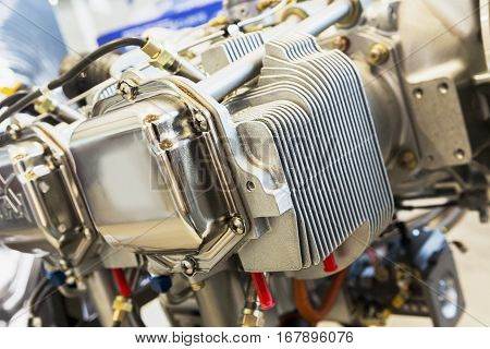 Piece of equipment of the aircraft engine closeup a aircraft engine detail in the exposition