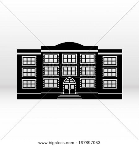 Building icon black web symbol in flat design on white background. Vector illustration.