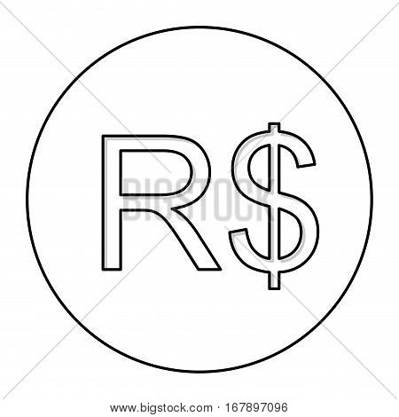 monochrome contour with currency symbol of brazilian real in circle vector illustration