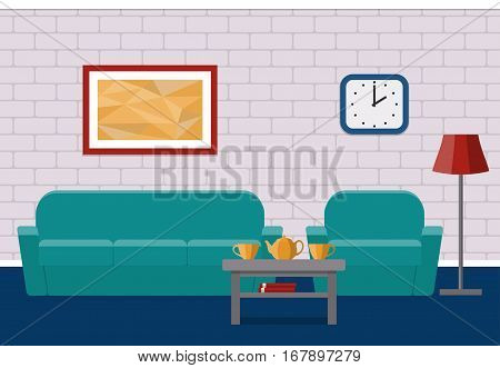 Interior living room in flat style. Vector. House design with furniture armchair couch coffee table. Background.