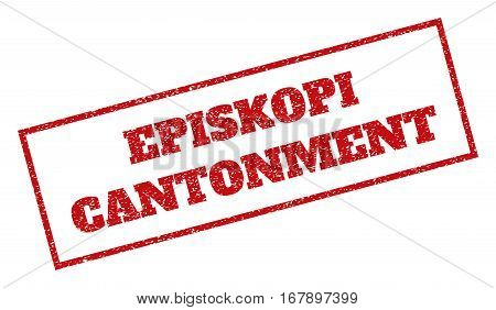 Red rubber seal stamp with Episkopi Cantonment text. Vector tag inside rectangular frame. Grunge design and unclean texture for watermark labels. Inclined sign.