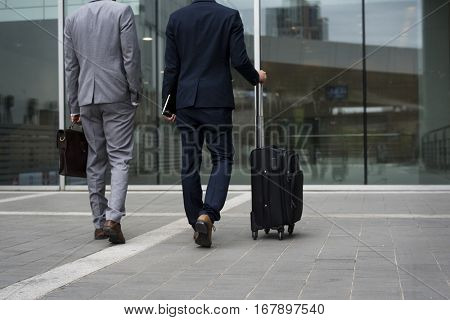 Business Men Walk Talk Luggage