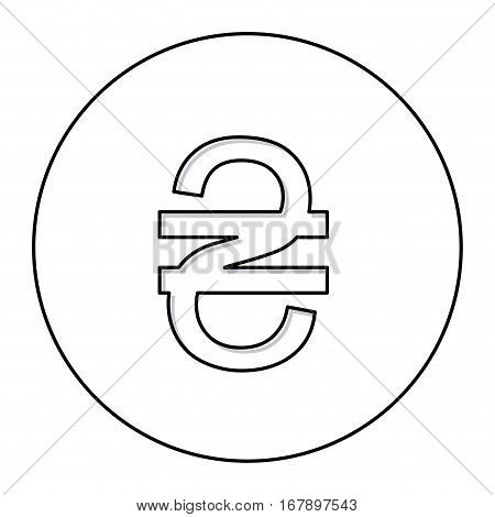 monochrome contour with currency symbol of grivna ukraine in circle vector illustration