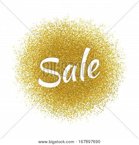 Sale icon template for banners, sites, advertisement, fliers, brochures, magazines on gold glitter, sparkles, bright texture background.