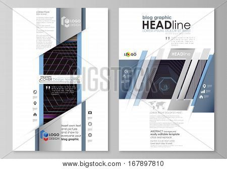 Blog graphic business templates. Page website design template, easy editable abstract vector layout. Abstract polygonal background with hexagons, illusion of depth and perspective. Black color geometric design, hexagonal geometry.