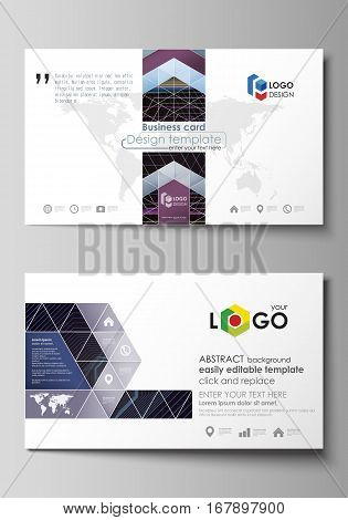 Business card templates. Easy editable layout, abstract vector design template. Abstract polygonal background with hexagons, illusion of depth and perspective. Black color geometric design, hexagonal geometry.