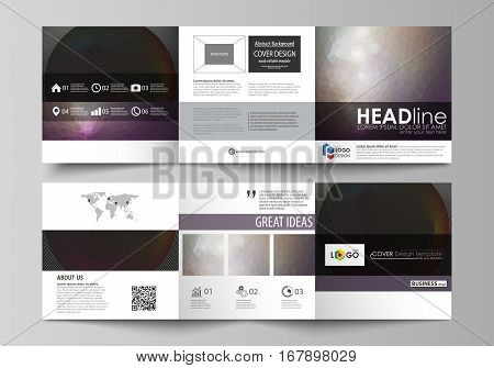 Set of business templates for tri fold square design brochures. Leaflet cover, abstract flat layout, easy editable vector. Dark color triangles and colorful circles. Abstract polygonal style modern background.