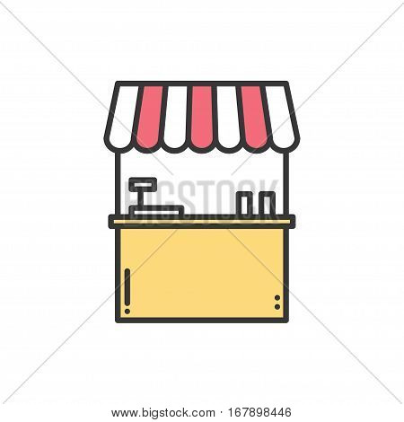 Street food retail thin line icons set. Food kiosk, market stall, mobile cafe, shop, trade cart. Vector linear icons. Isolated illustration. Symbols. Object. Fast food. Hot dog, ice cream sale