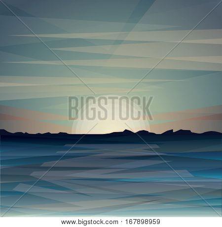 Flat triangles vector sea evening sunset landscape, marine landscape