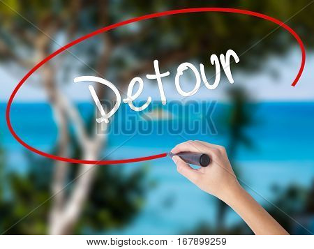 Woman Hand Writing Detour  With Black Marker On Visual Screen