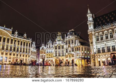 BRUSSELS BELGIUM - AUGUST 22 2014: Grand Place - the main square in Brussels at night Belgium