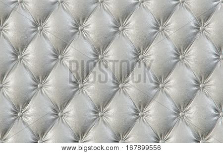 luxurious texture of white leather upholstery. 3D illustration.