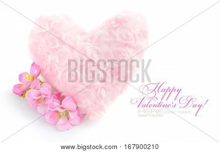 Fur Pink Heart With A Pink Flowers On White Background