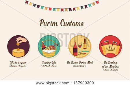 symbols of Jewish holiday purim. infographics design. vector illustration