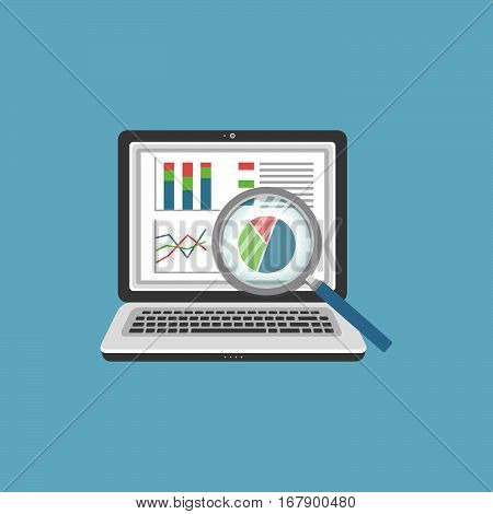 Analitycs search concept. Analysis, Financial Audit Concept, SEO analytics, tax audit, working, management. Magnifying glass at the monitor with graphs on the screen.