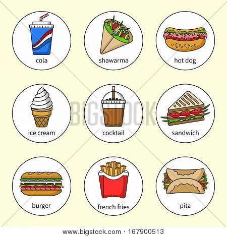 Set of fast food icons. Drinks, snacks and sweets. Colorful outlined icon collection. Sandwich, burger, hot dog, pita, shawarma, french fries, cocktail, cola, ice. Vector illustration in circle Set 3