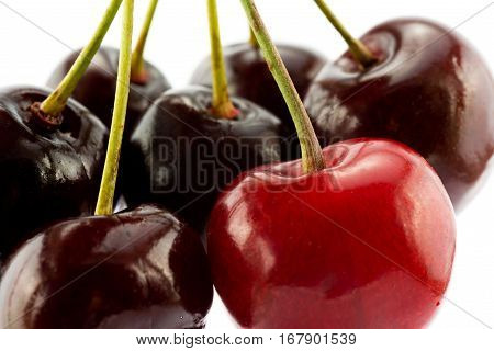 cherry berries pile isolated on white background cutout