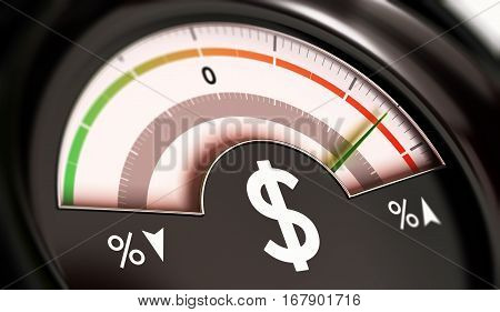 3D illustration of a dial with dollar symbol with needle pointing the red zone. Rise of prices concept horizontal image.