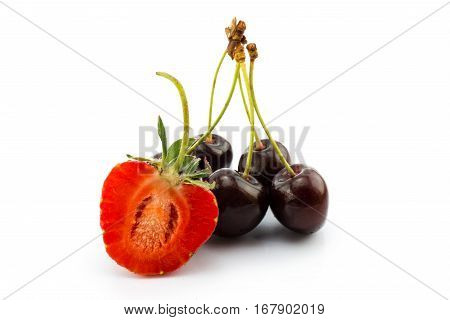 cherry berries and strawberry isolated on white background cutout