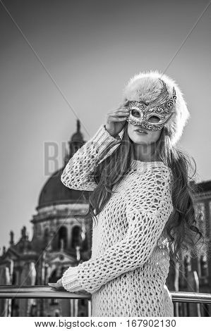 Elegant Fashion-monger In Venice, Italy Wearing Venetian Mask