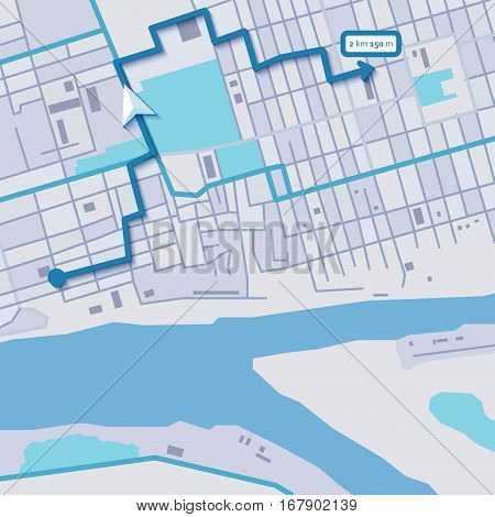 Vector flat abstract city map with navigation route
