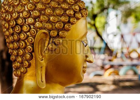 Buddha face and Buddha head in Asia Thailand