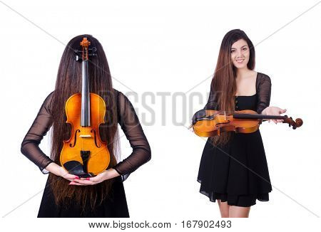 Young performer with violin on white