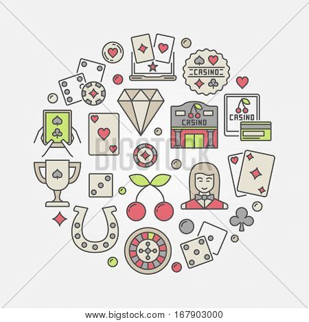 Casino flat illustration. Vector colorful round symbol made with icons of cards, chips, dice and other gambling signs