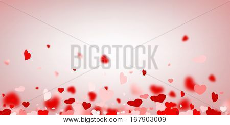Love valentine's background with red and pink hearts. Vector illustration.