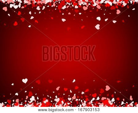 Red love valentine's background with hearts. Vector illustration.