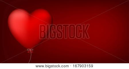 Valentine's red love banner with heart balloon. Vector illustration.
