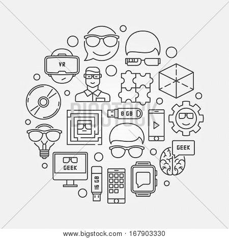 Geek outline circular illustration - vector creative technology symbol