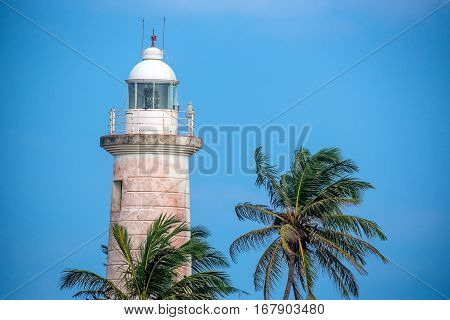 Close-up view with lighthouse old colonial fort Galle in Sri Lanka