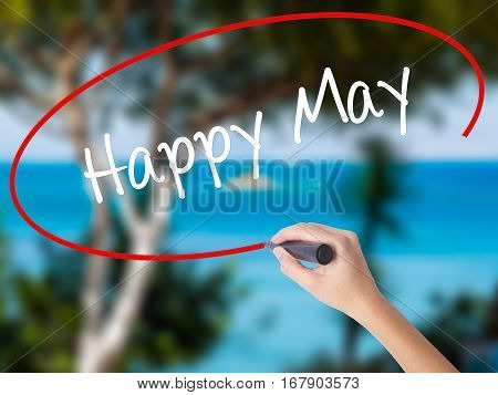 Woman Hand Writing Happy May With Black Marker On Visual Screen