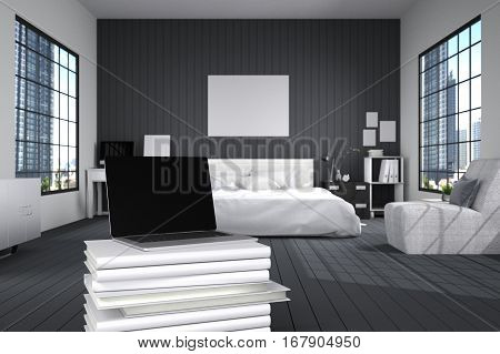 3D Rendering : illustration of close up of laptops in modern interior bedroom. close-up. Mock up. light from outside. frame mock up. black bed room. white furniture. white book stacked