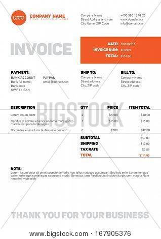 Vector minimalist invoice template design for your business / company