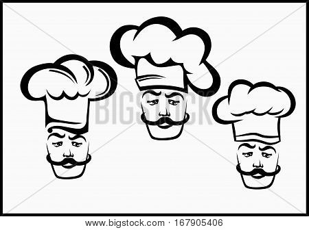 vector set for restaurants and eating places icons cook with cap